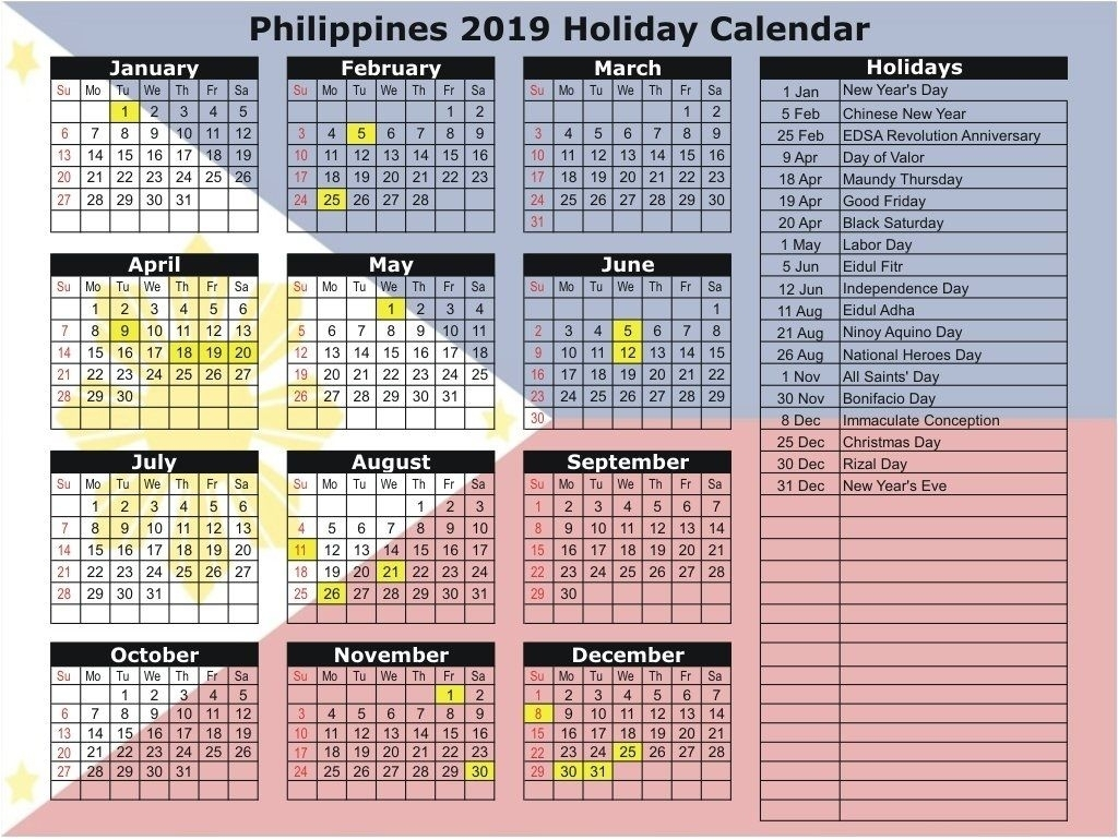 Philippines 2019 Holidays Calendar Printable | Holiday