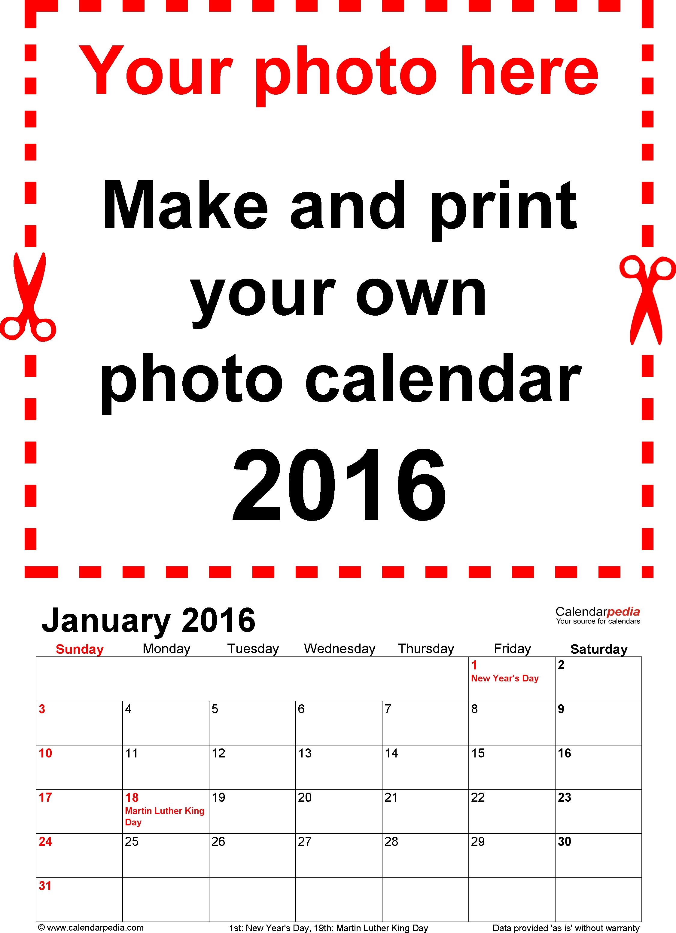 Photo Calendar 2016 - Free Printable Pdf Templates