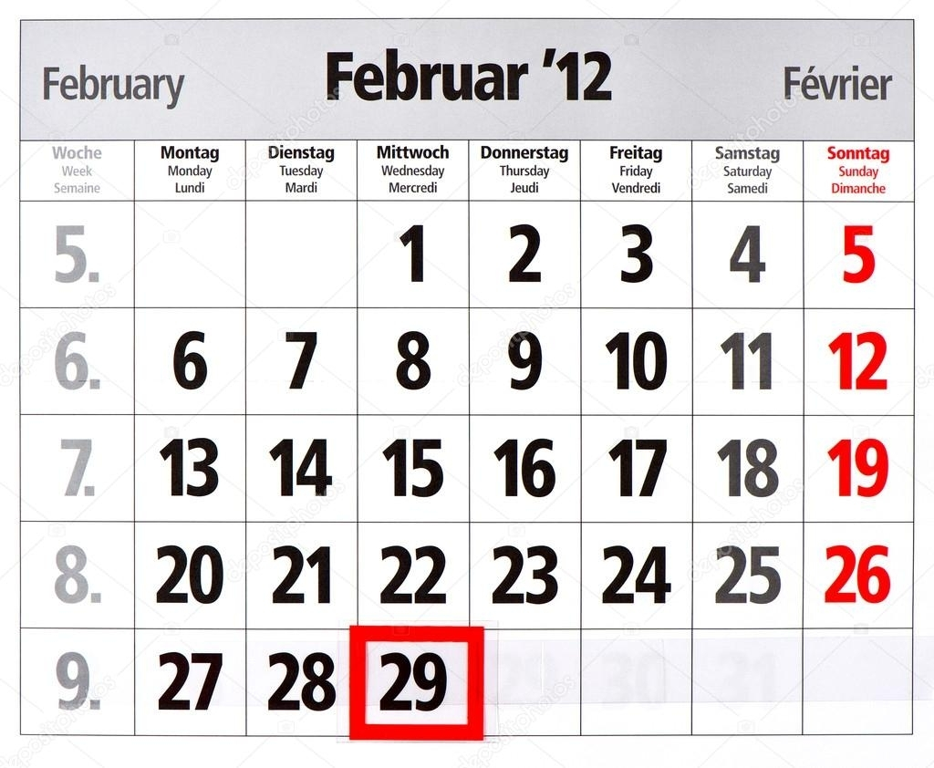 Pictures : Leap Year | Leap Year Calendar With Red Mark On