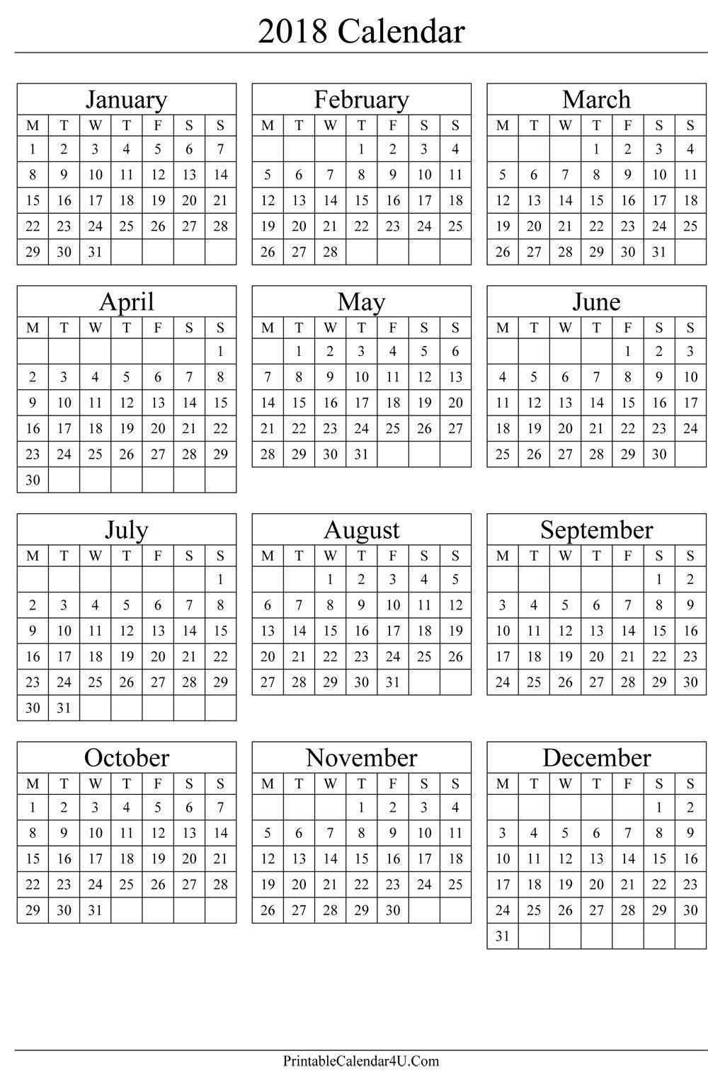Pincalendar Printable On 2018 Calendar | Printable