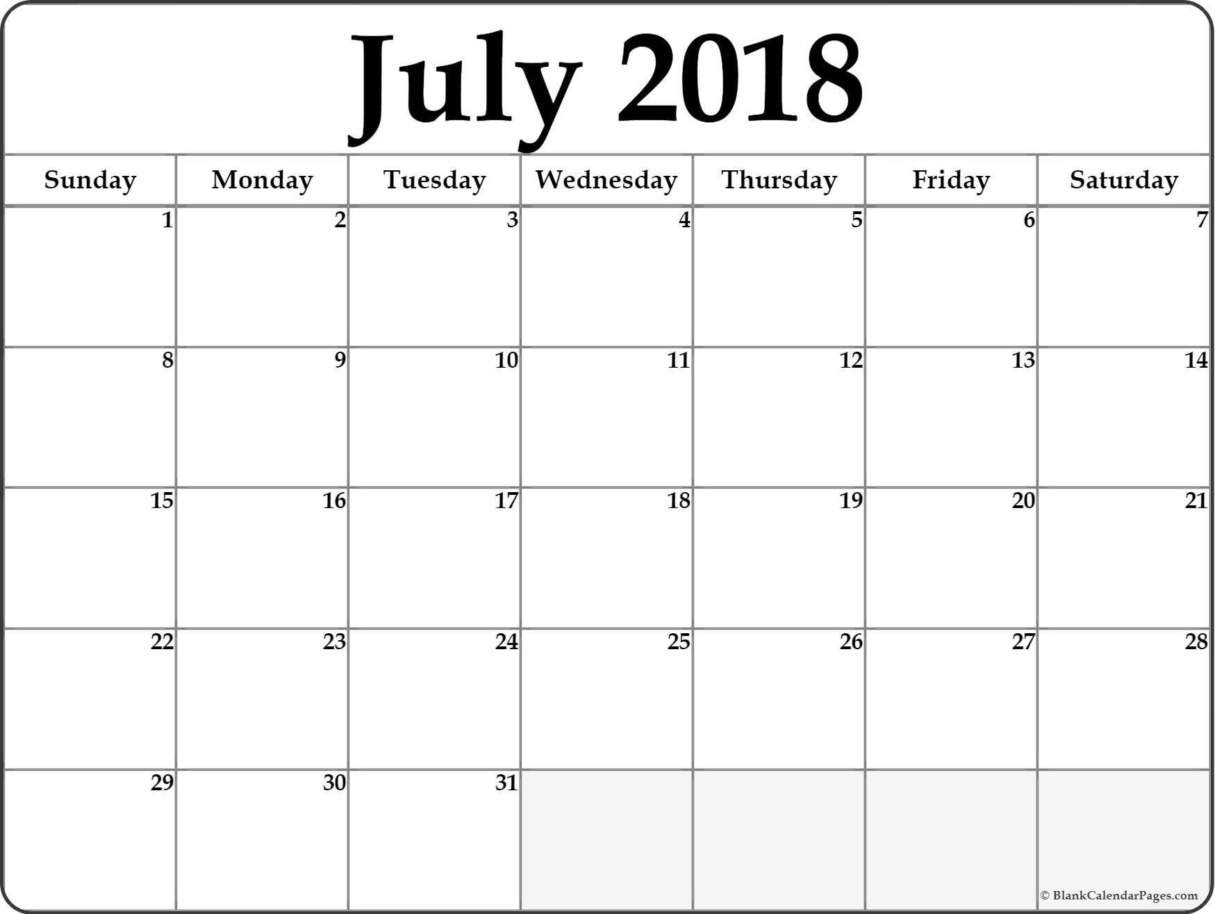 Pinmonthly Calendar On July Calendar 2018 | Printable