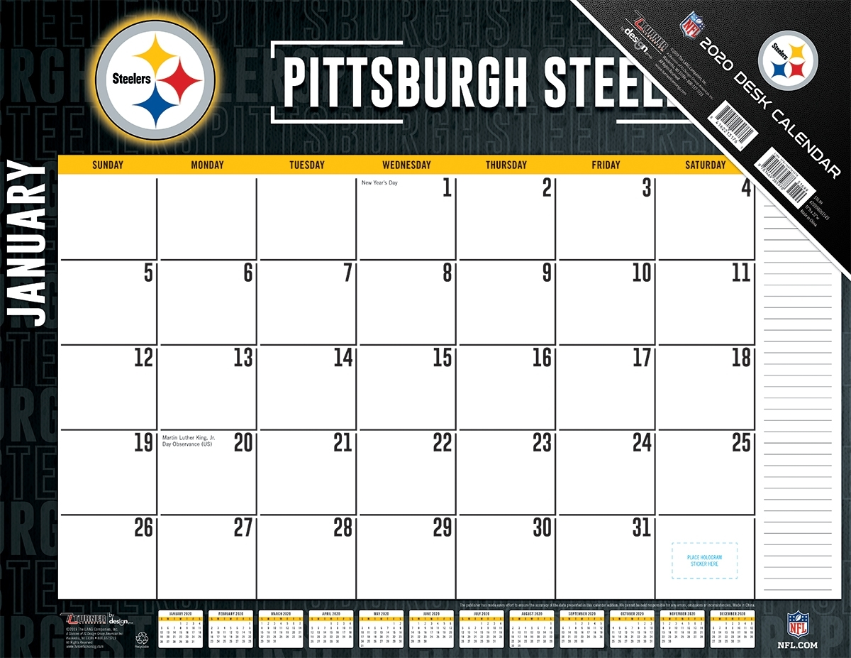 Pittsburgh Steelers 2020 Nfl 22 X 17 Desk Calendar - Buy At Khc Sports