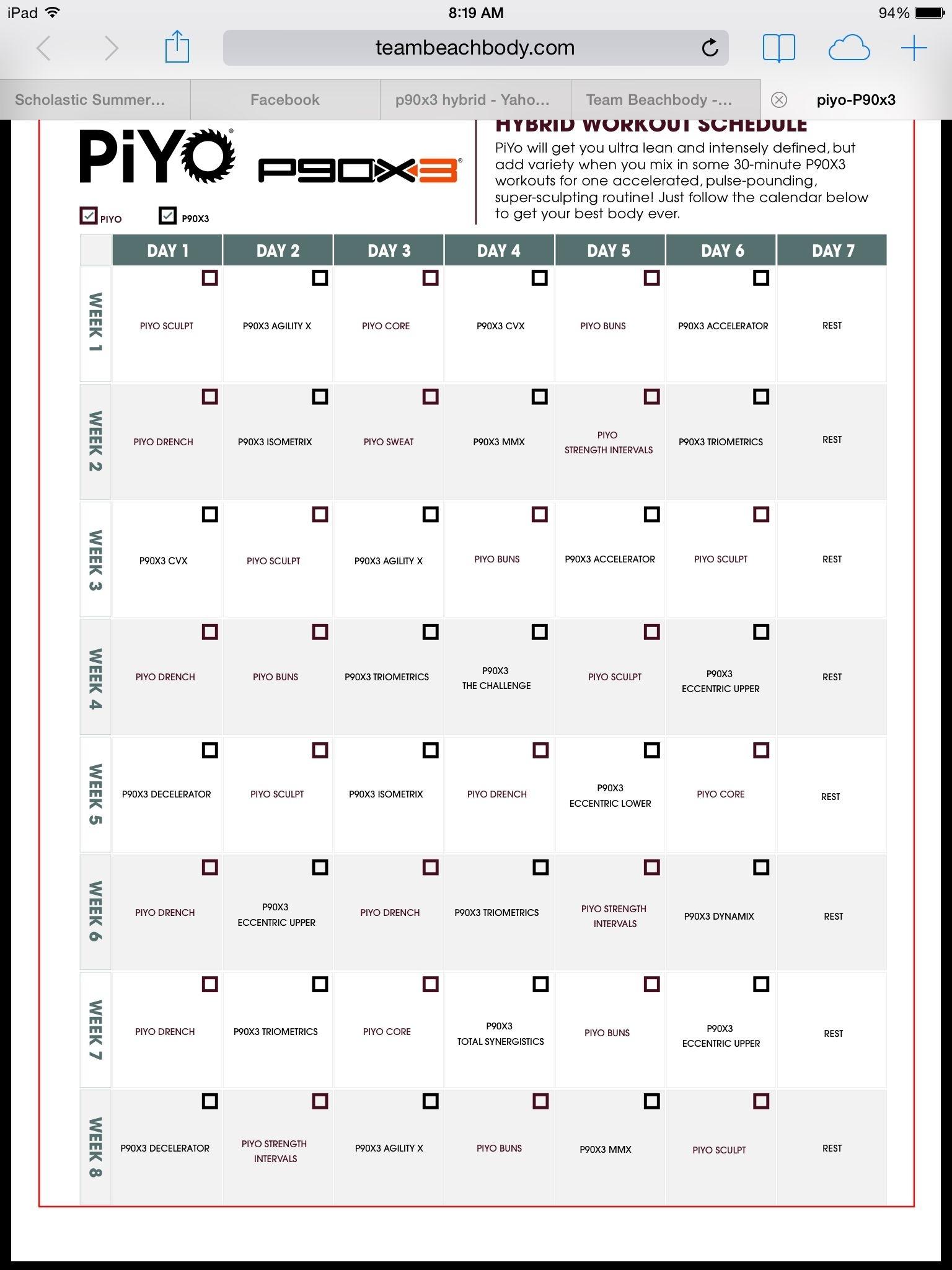 Piyo/p90X3 Hybrid | T25 Workout, Workout Schedule, Workout