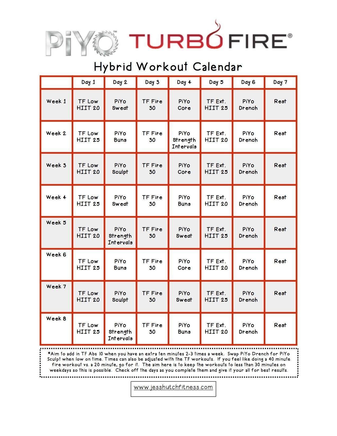 Piyo/turbofire Hybrid Calendar | Workout Calendar, Body Pump