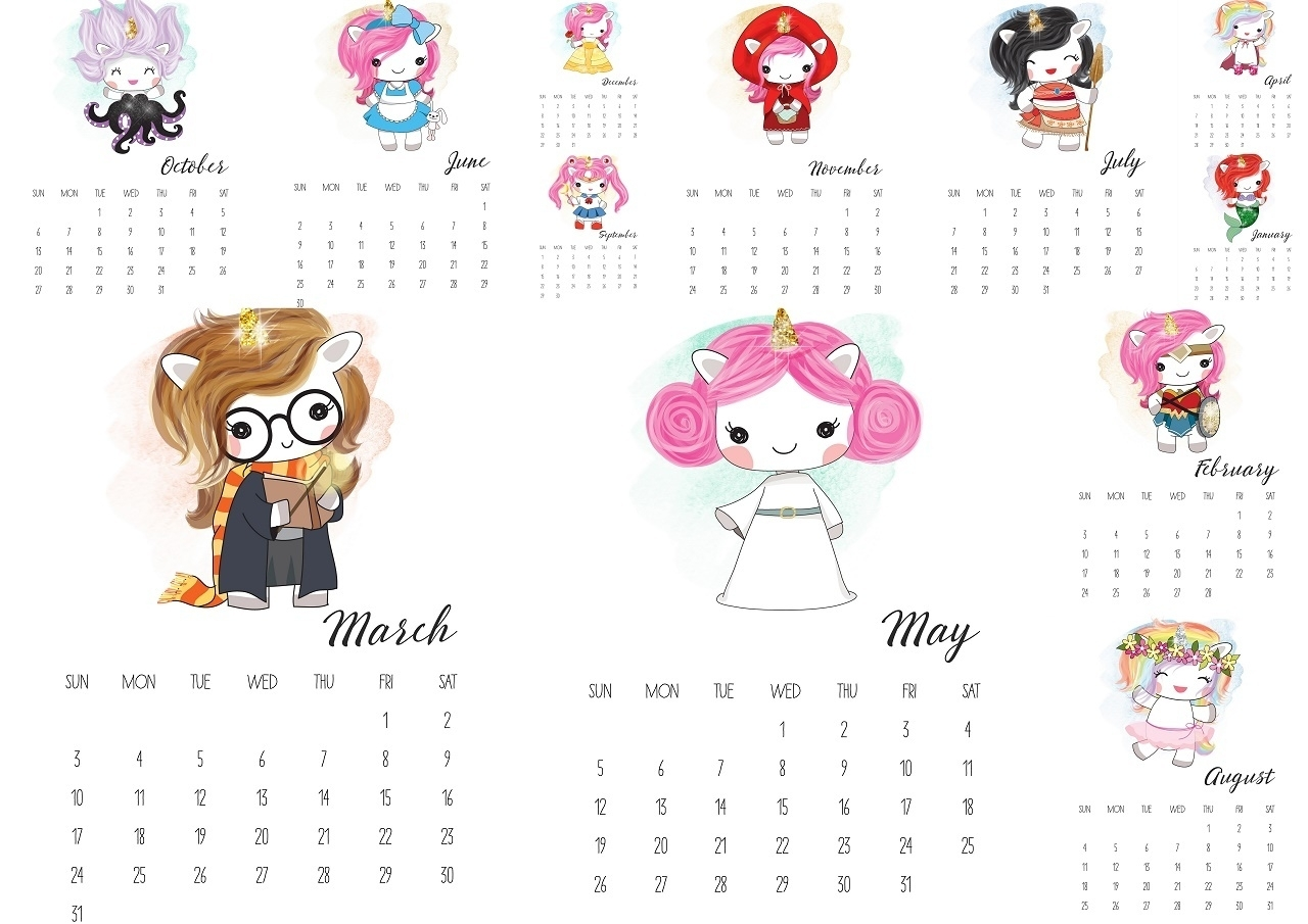 Pop Unicorns 2019 Free Printable Calendar. - Oh My Fiesta