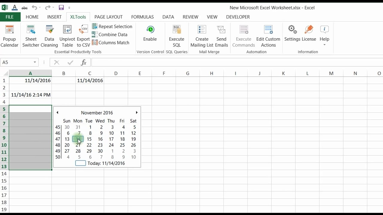 Popup Calendar For Excel   Xltools – Excel Add-Ins You Need