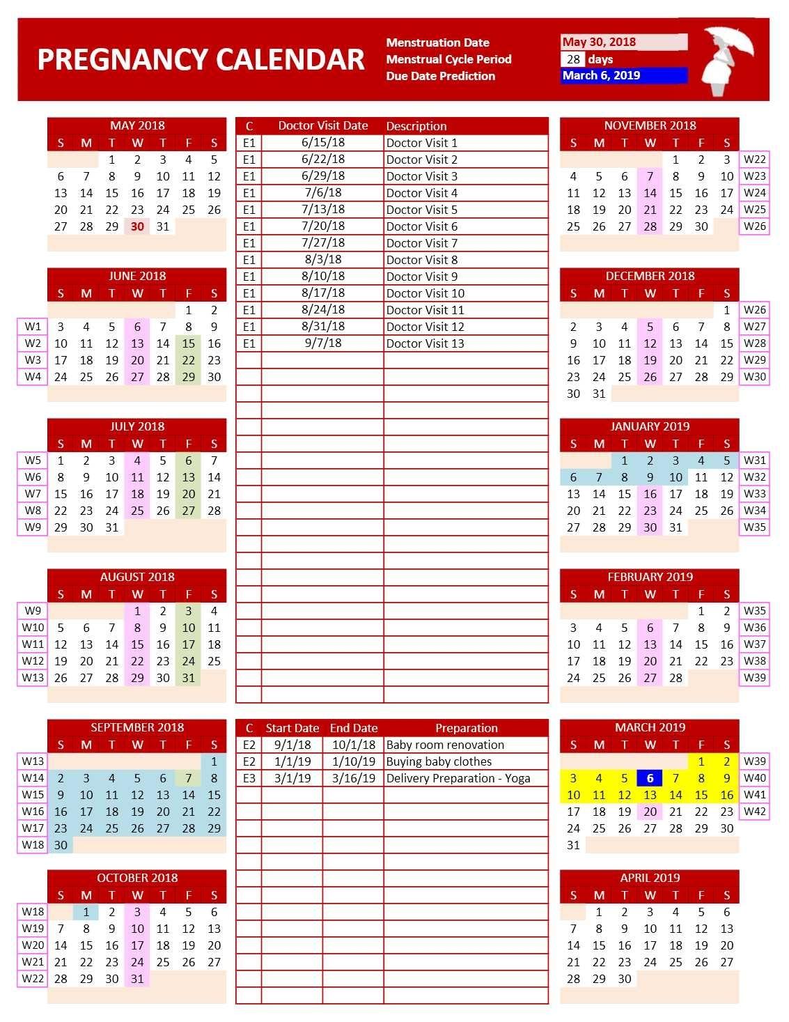 Pregnancy Calendar – Excel Calendars