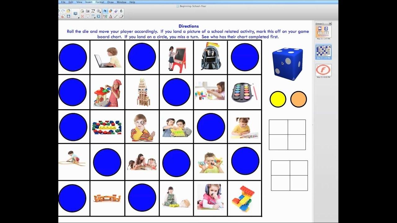 Preschool-Kindergarten First Day Games For Smart Board