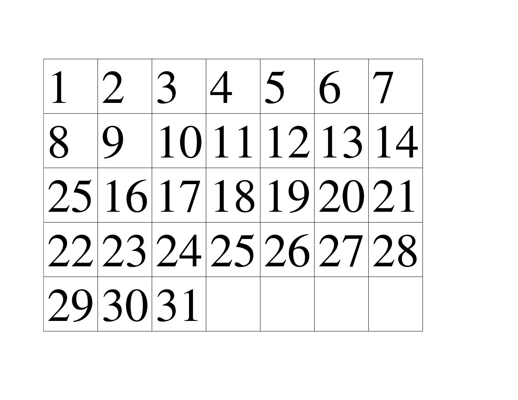 Preschool Printables Calendar Numbers Free Calendar Template