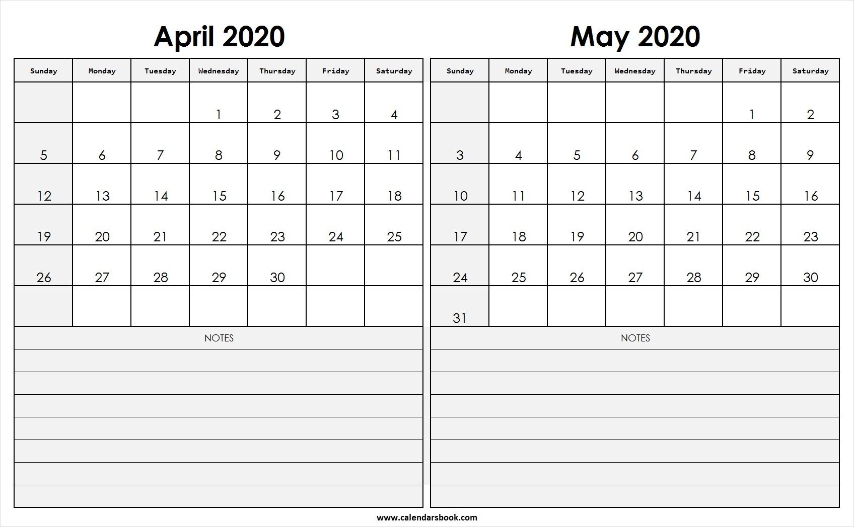 Print April May 2020 Calendar Template | 2 Month Calendar