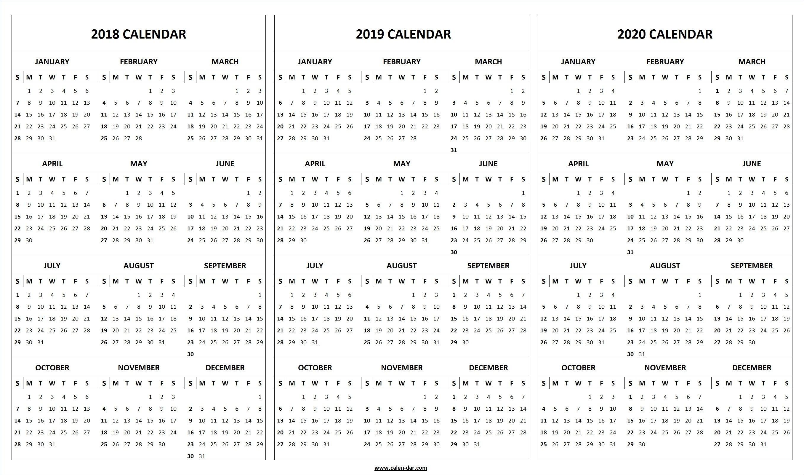 Print Blank 2018 2019 2020 Calendar Template | 2021 Calendar