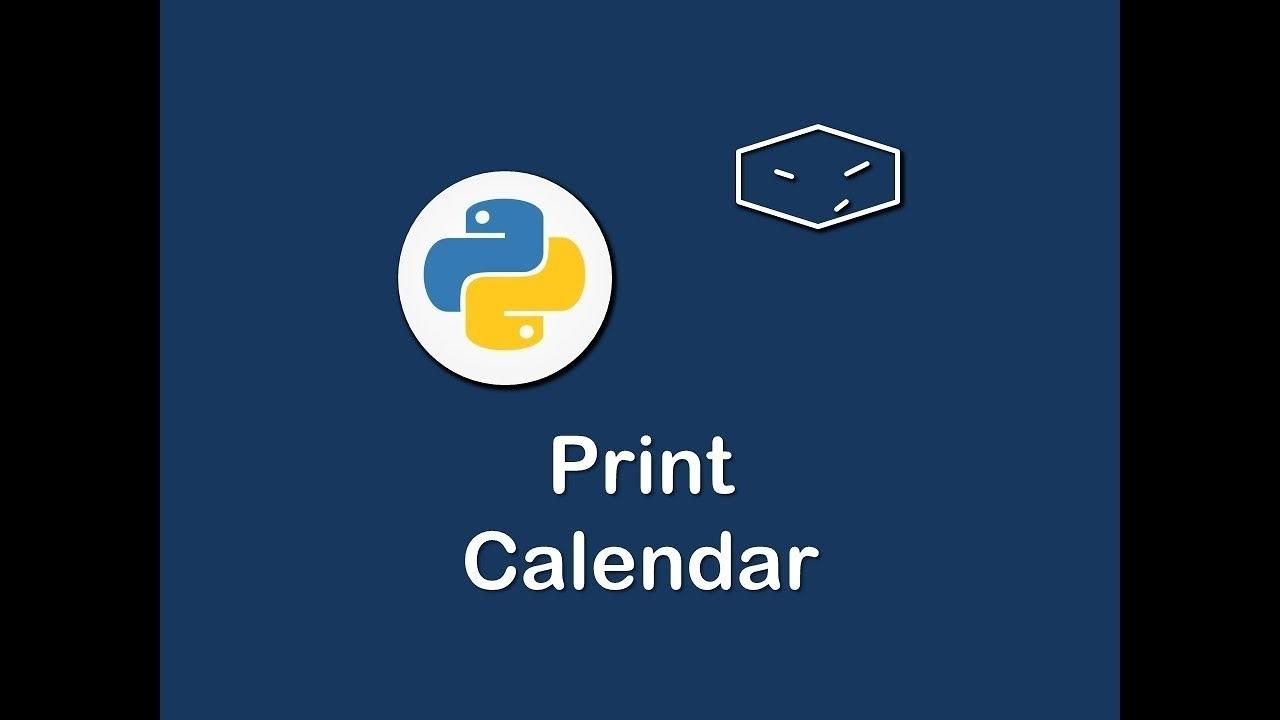 Print Calendar In Python