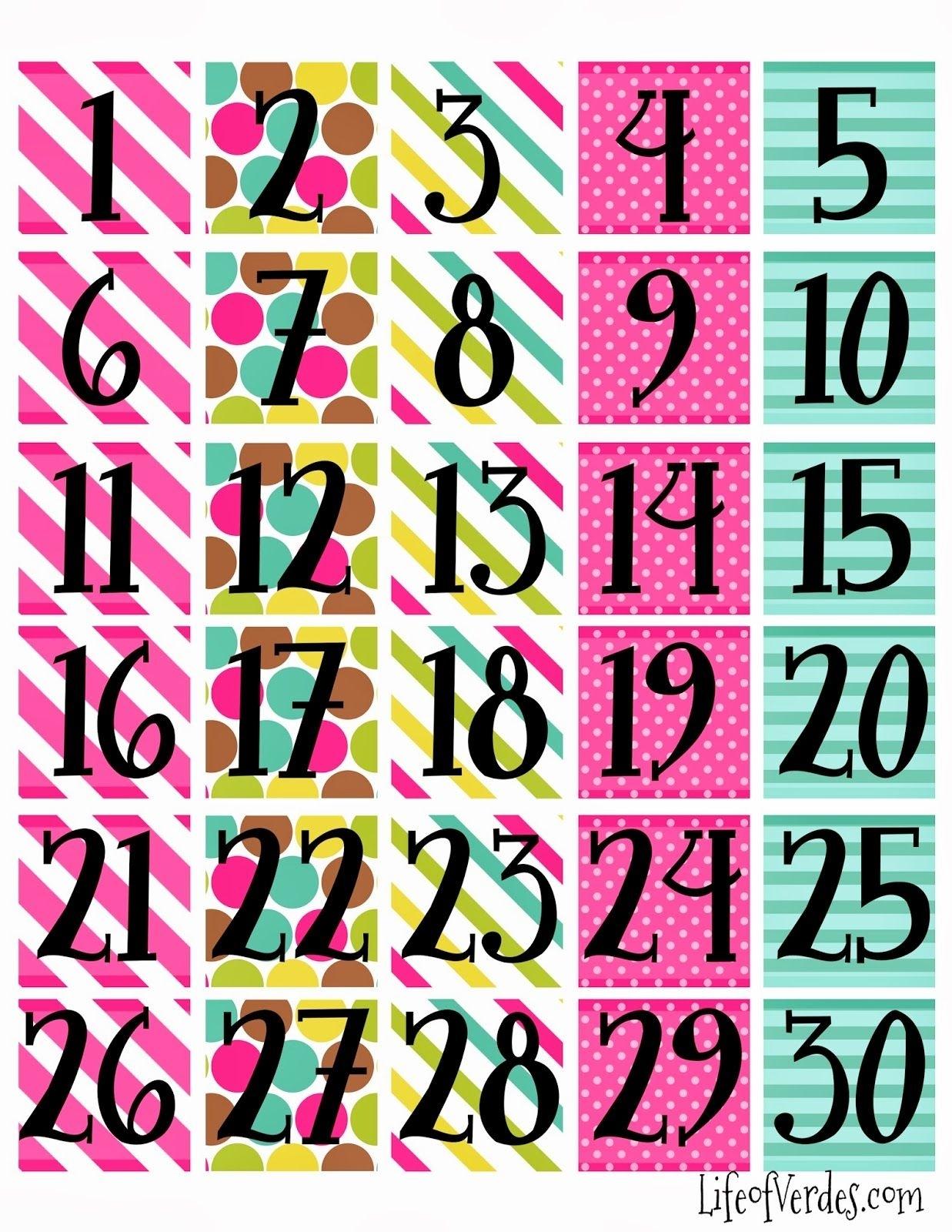 Print Calendar Numbers Free  | Calendar Numbers