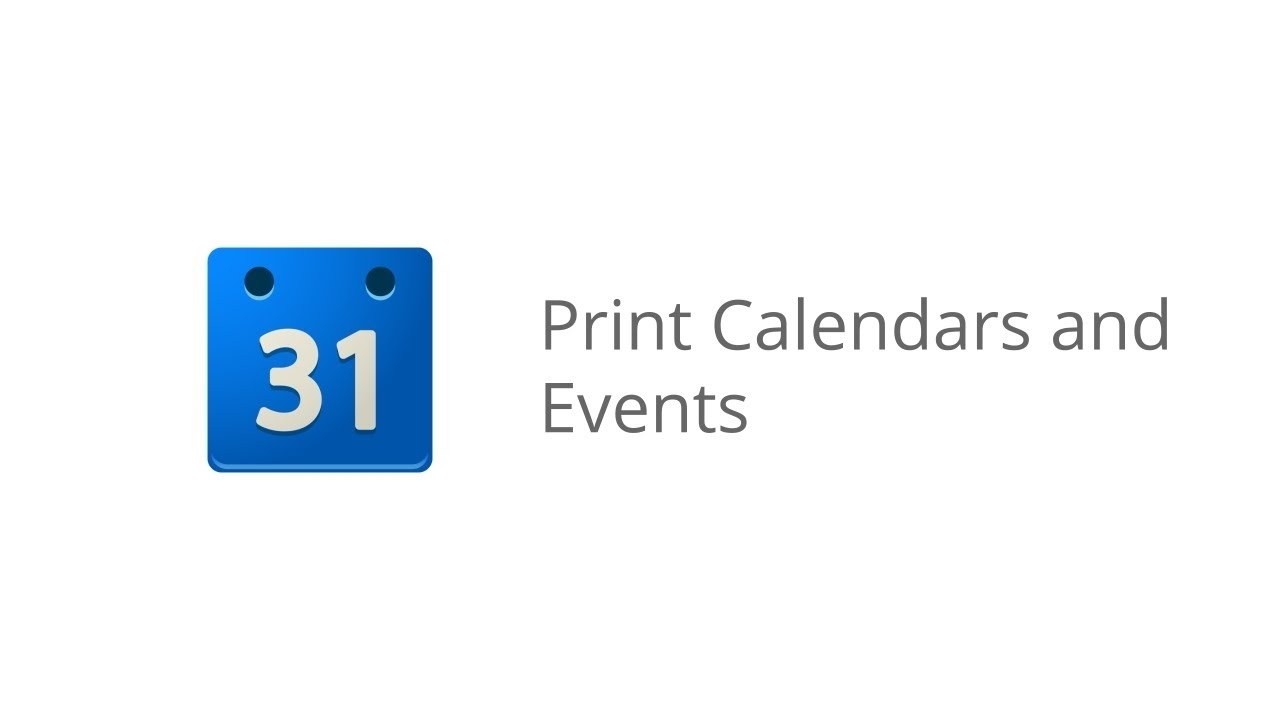 Print Calendars And Events
