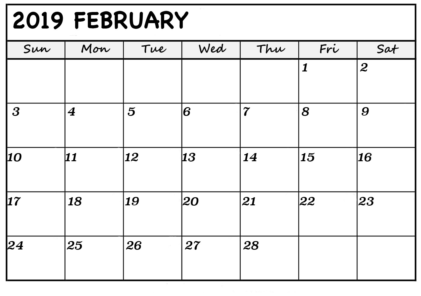 Print February 2019 Calendar In Portrait And Landscape Format