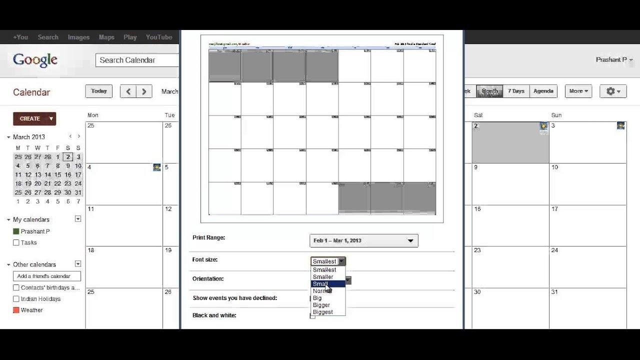 Print - Google Calendar