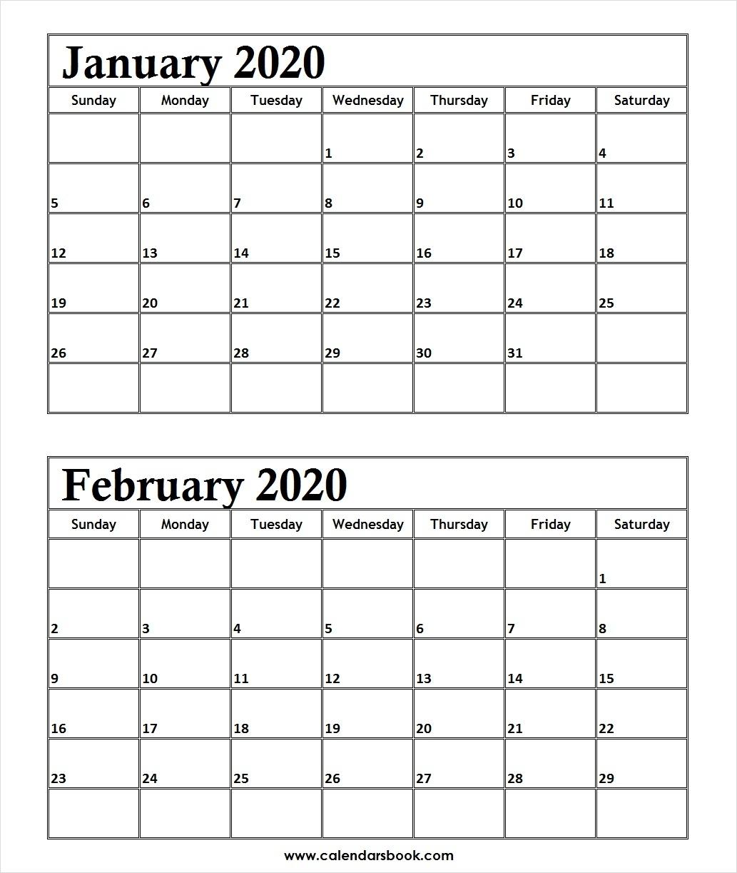 Print January February 2020 Calendar Template | 2 Month Calendar
