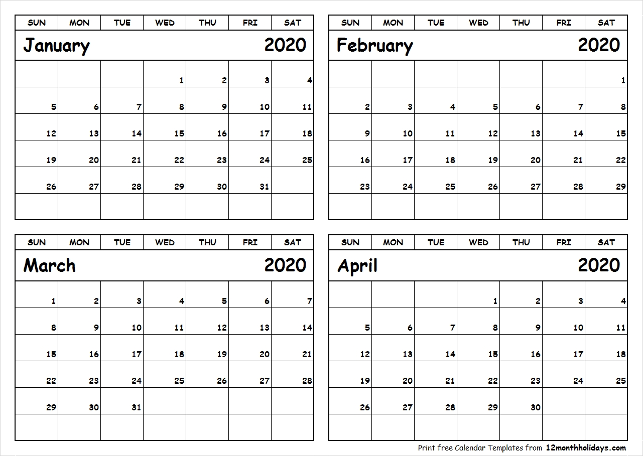 Print January To April 2020 Calendar Template | 4 Month Calendar