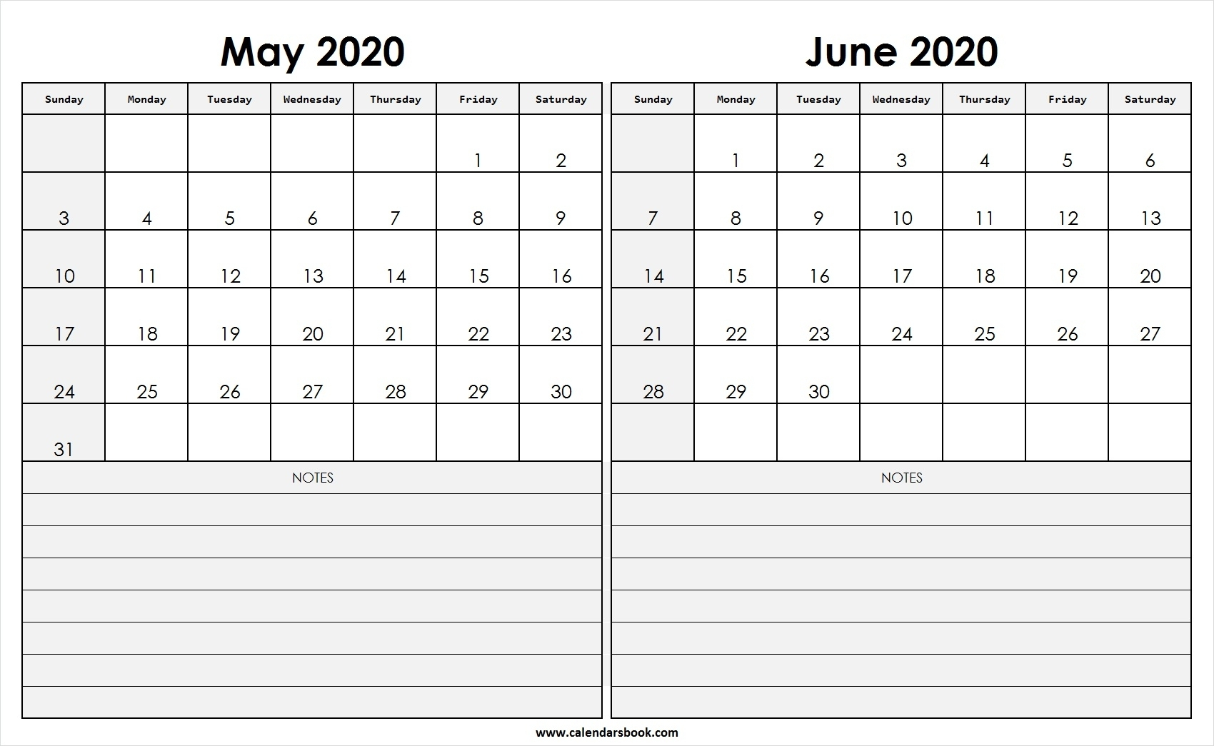 Print May June 2020 Calendar Template | 2 Month Calendar