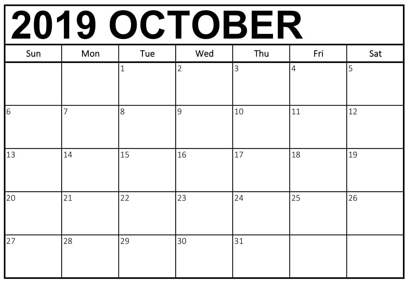 Print October 2019 Calendar Uk – Welcome To The World Of