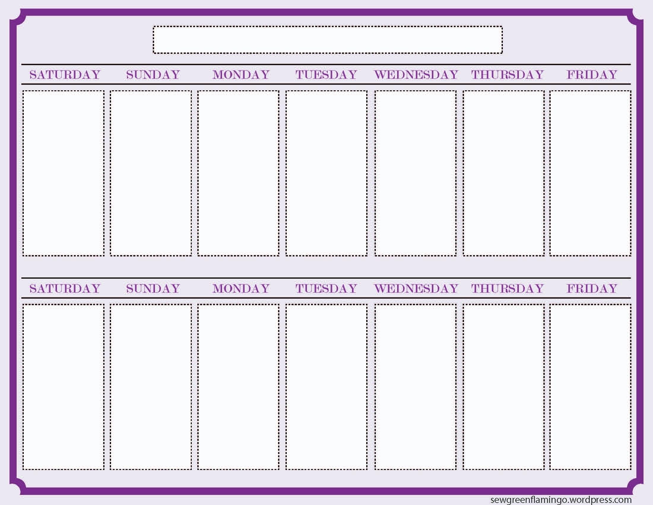 Print Off Year Long Calendar | Blank Calendar Template