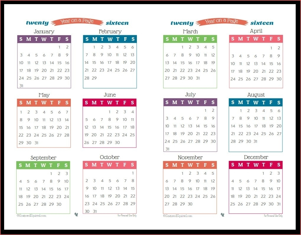 Print Off Year Long Calendar | Ten Wall Calendar