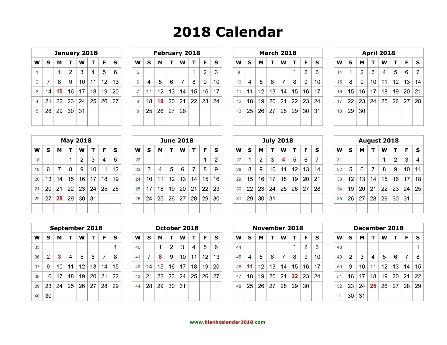 Year Long Calendar Printable