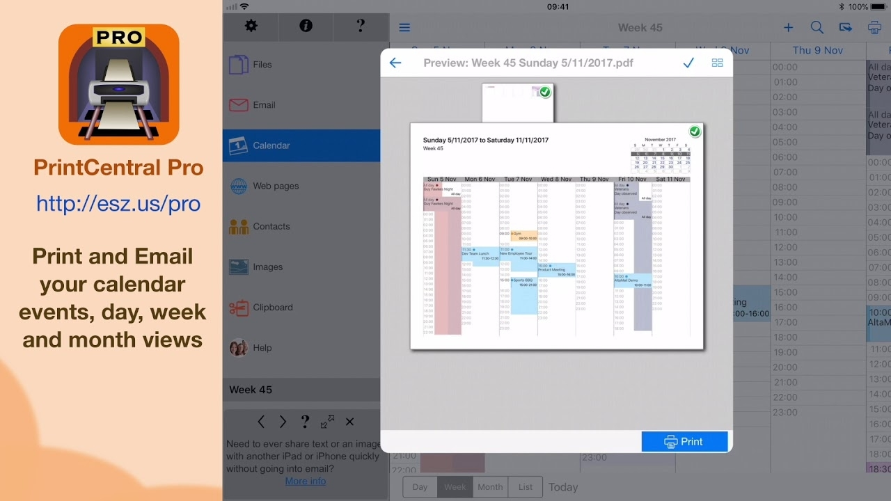 Print Your Iphone Or Ipad Calendar To Any Printer Or Pdf - Printcentral Pro