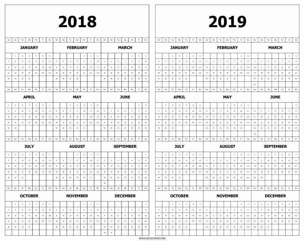 Printable 2018 2019 Calendar Calendar 2018 And 2019