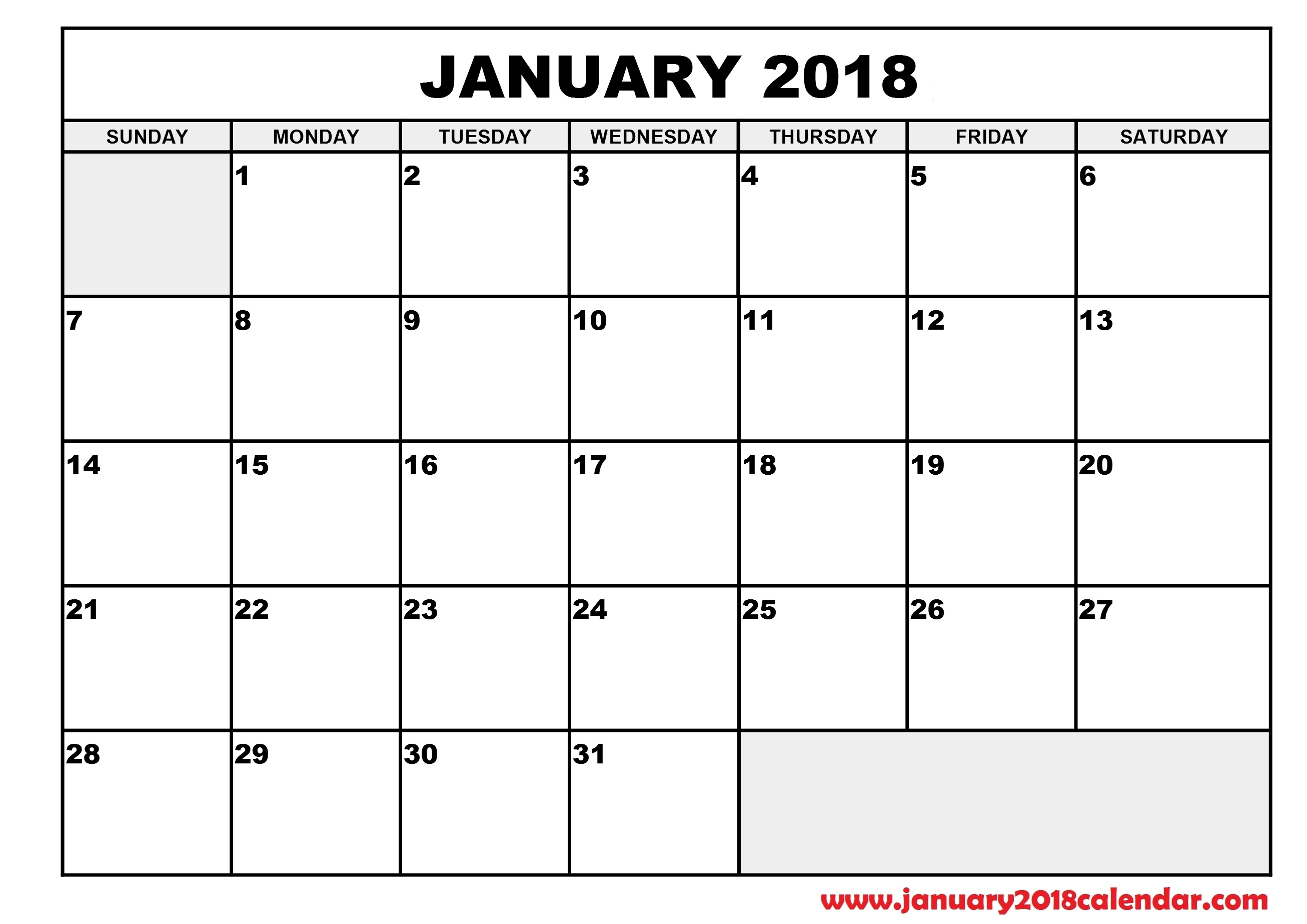 Printable 2018 Calendar Without Weekends | Calendar Template