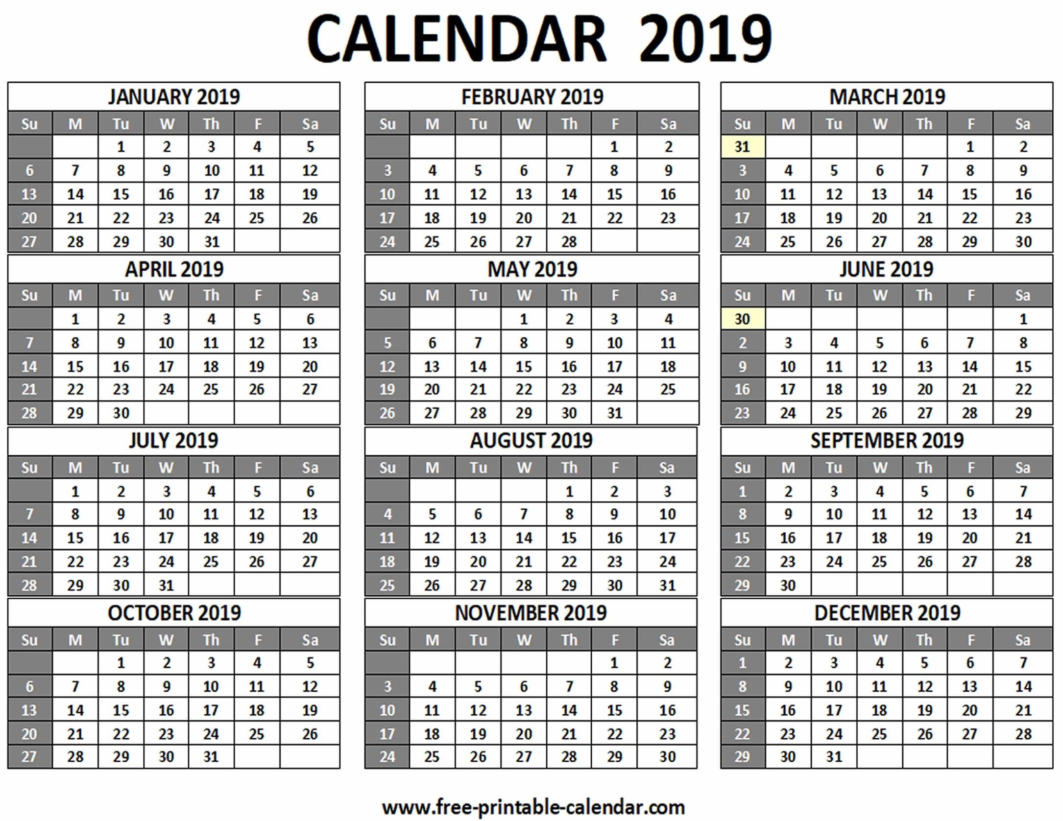 Printable 2019 Calendar - Free-Printable-Calendar