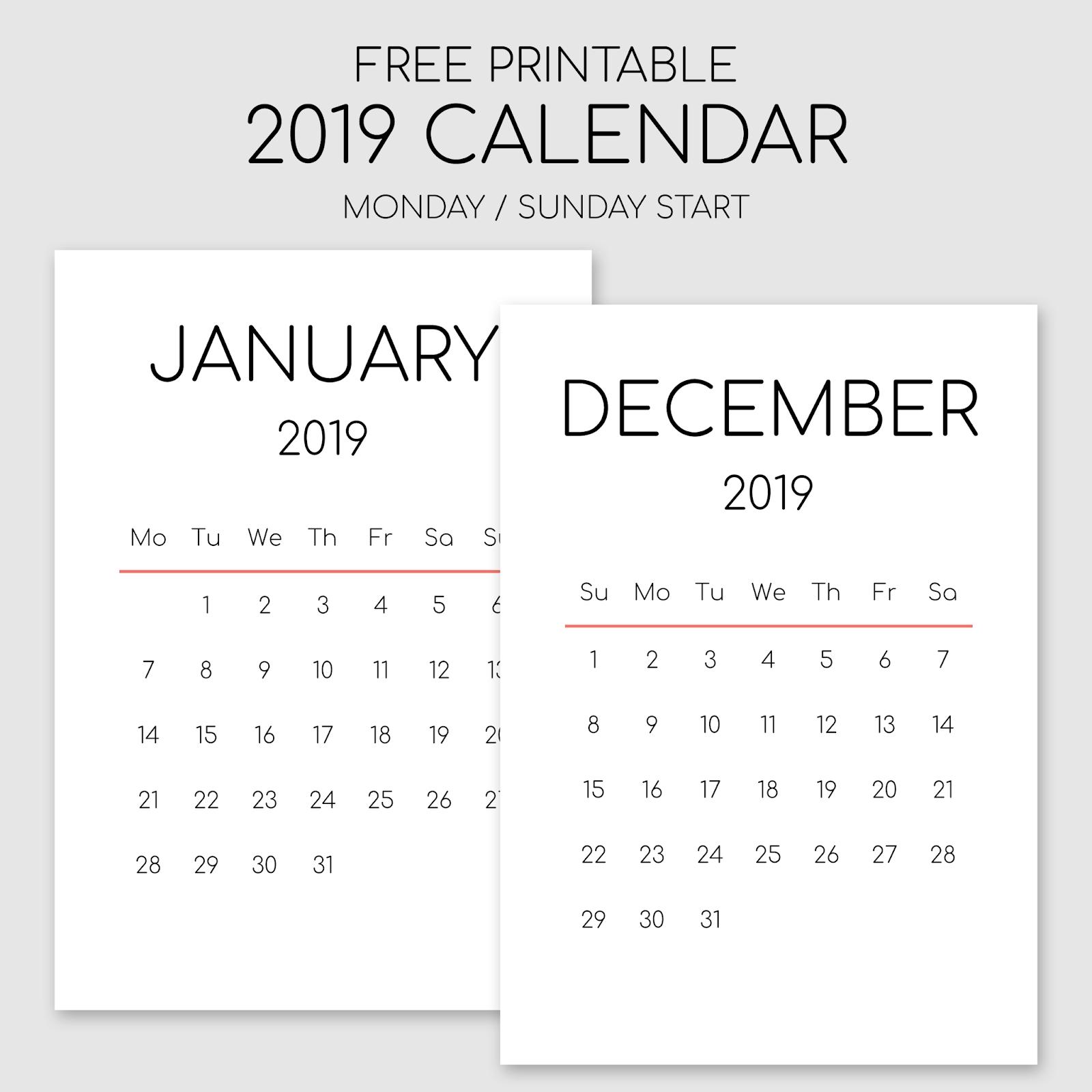 Printable 2019 Calendar - Portrait Orientation