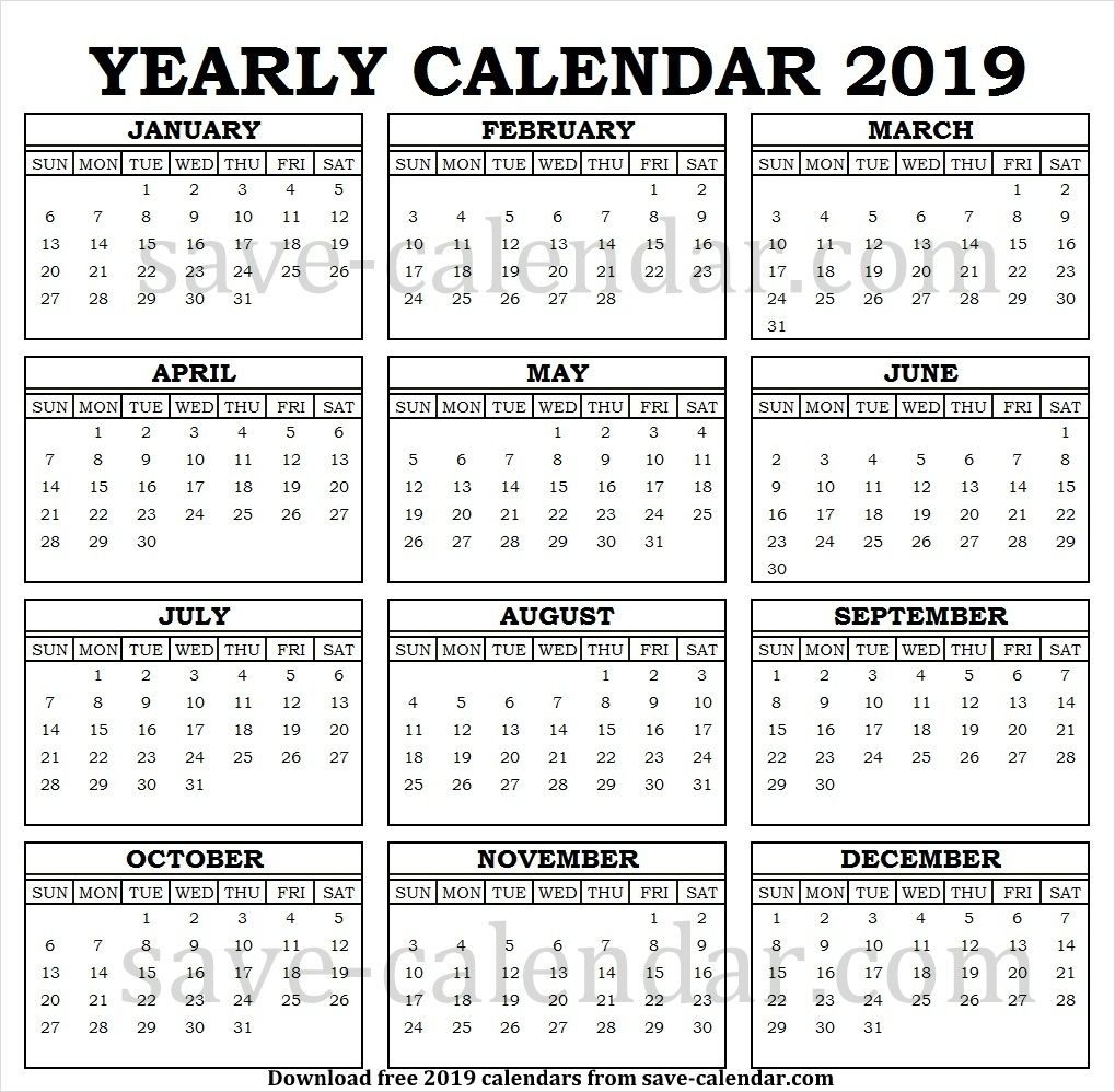 Printable 2019 Calendar Vertical List | 2019 Calendar