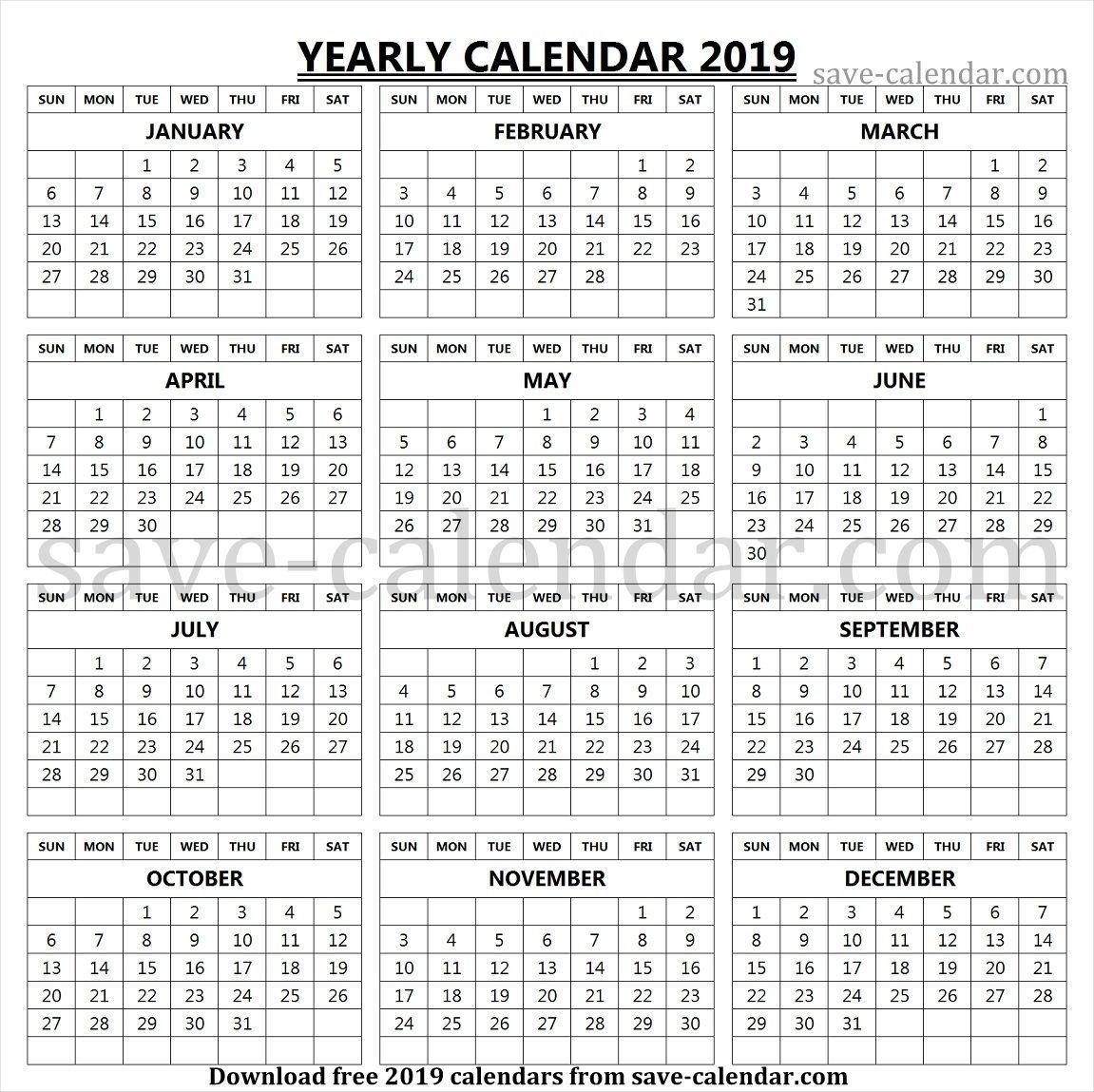 Printable 2019 Calendar Vertical List | Yearly Calendar 2019