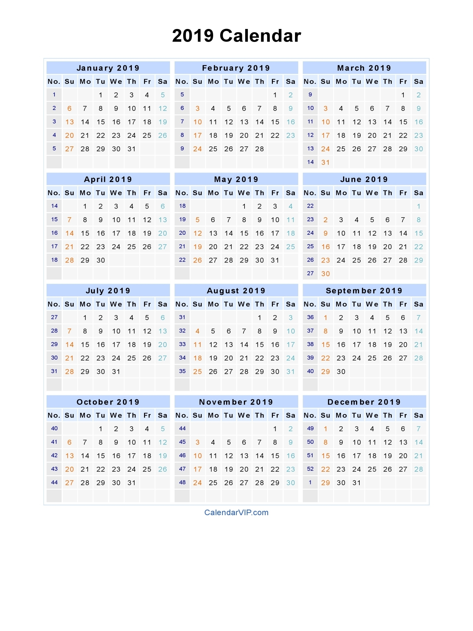 Printable 2019 Calendarweek | Printable Calendar 2020