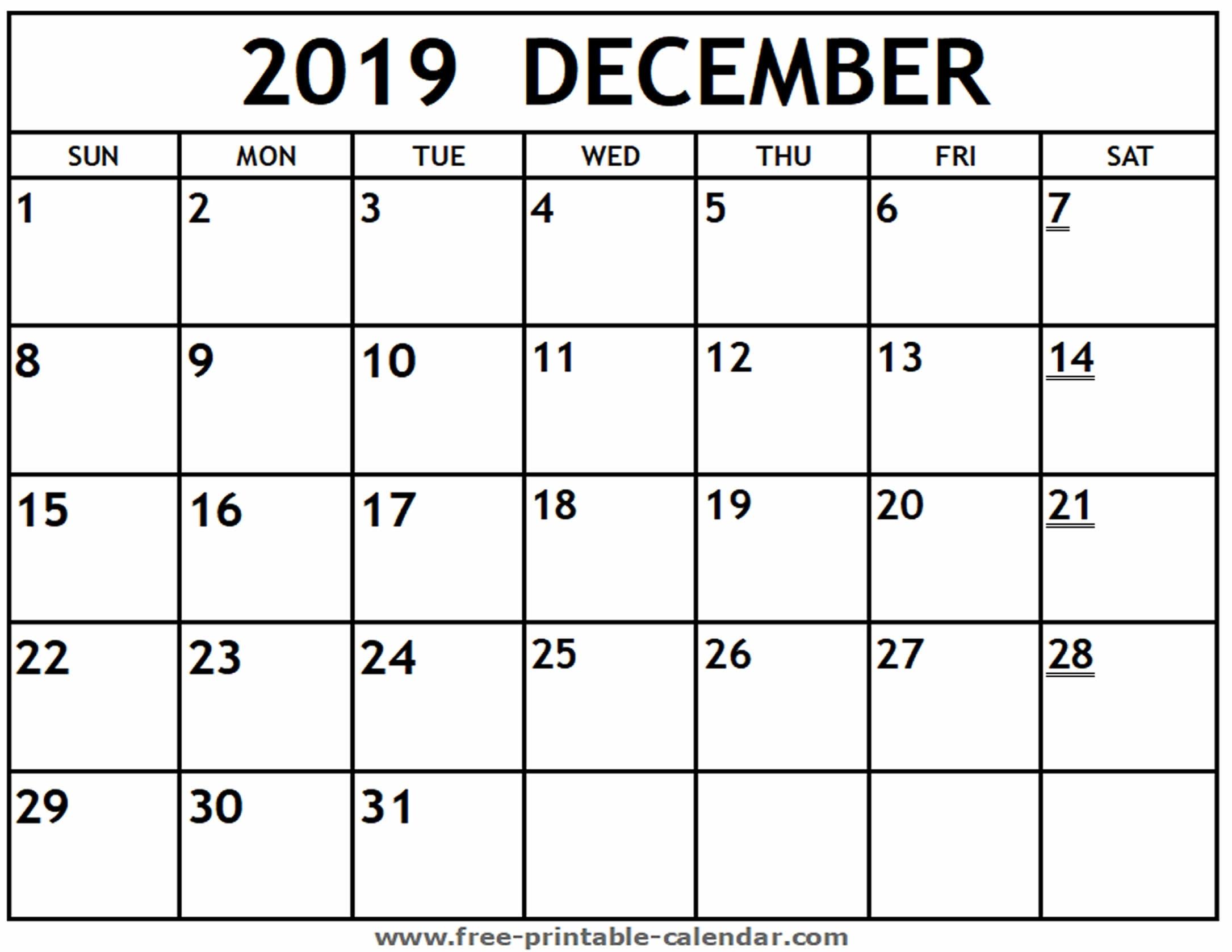 Printable 2019 December Calendar - Free-Printable-Calendar