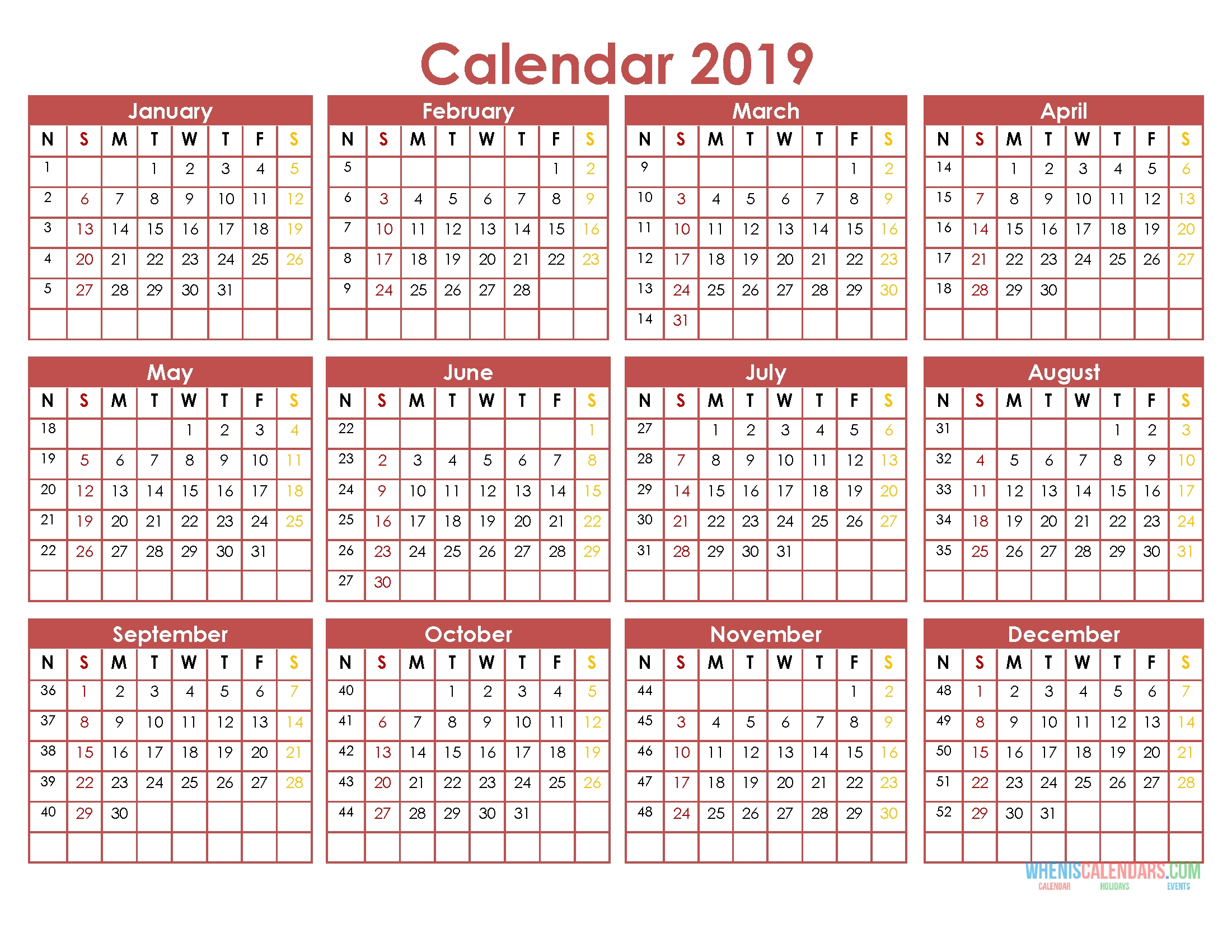 Printable 2019 Full Year Calendar Template On 1 Page [Us