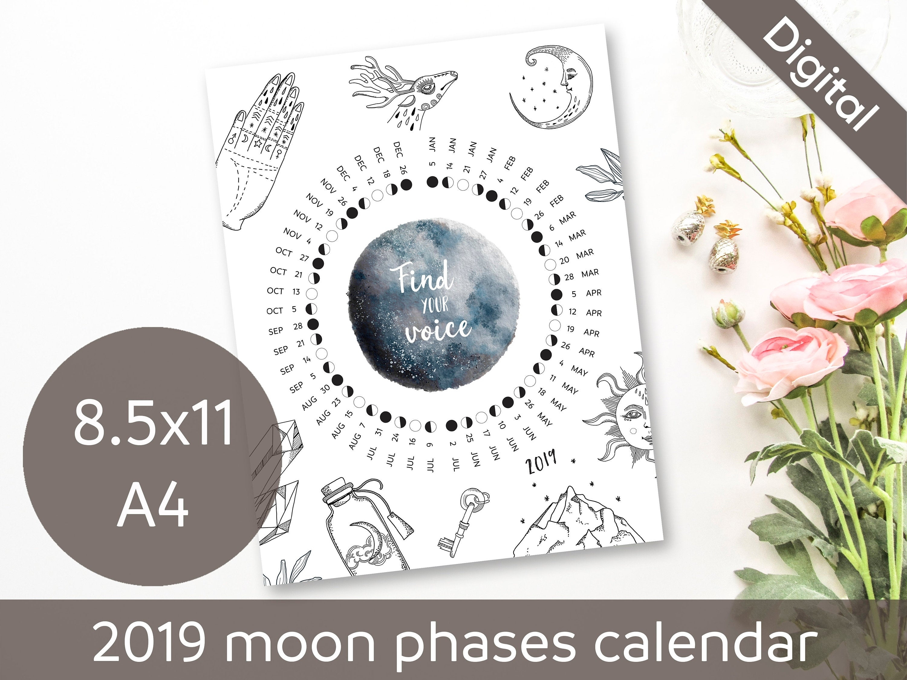 Printable 2019 Moon Phases Calendar, Full Moon, New Moon, Usa & Europe Time  Zones, Whimsical, Desk, Wall, A4, Letter, Pdf Instant Download