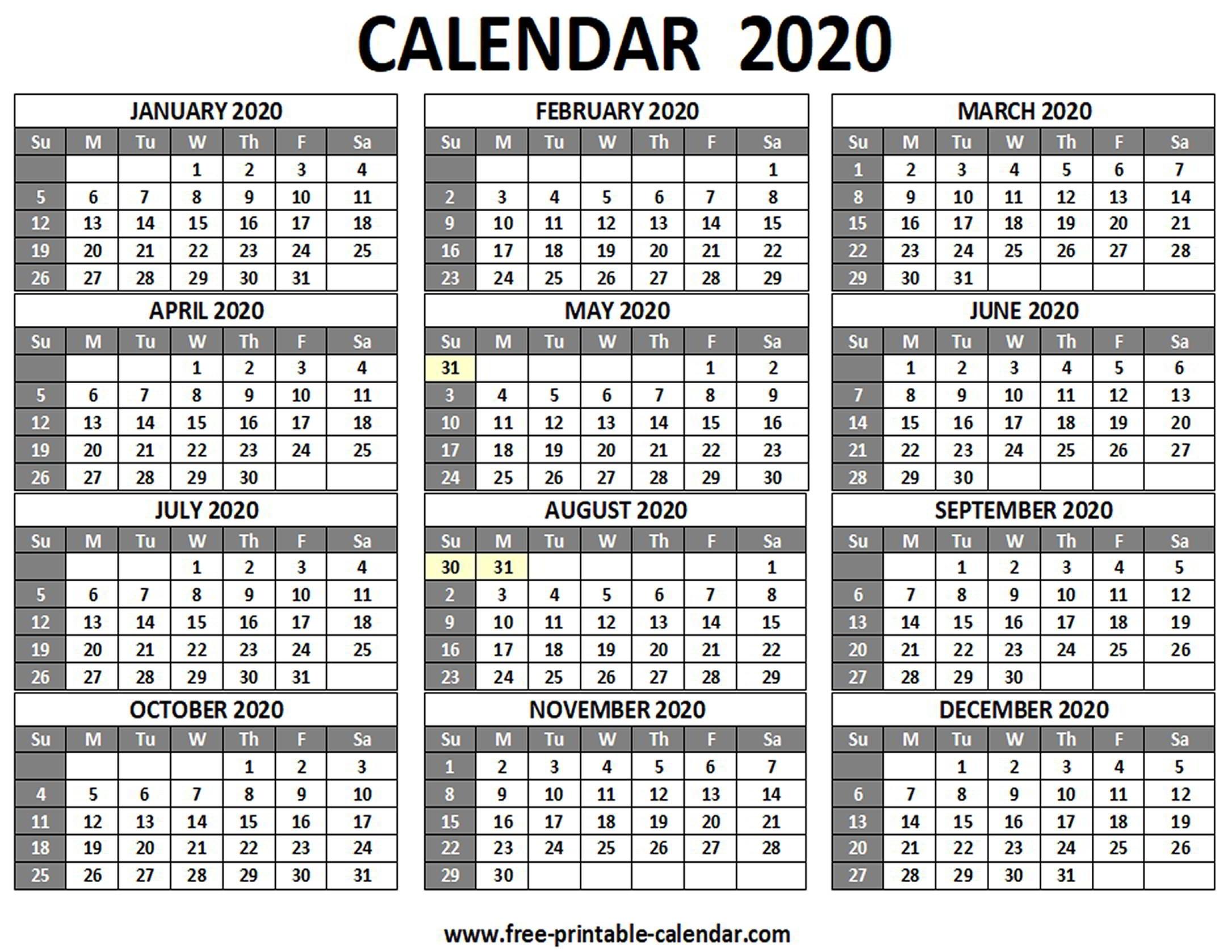 Printable 2020 Calendar - Free-Printable-Calendar