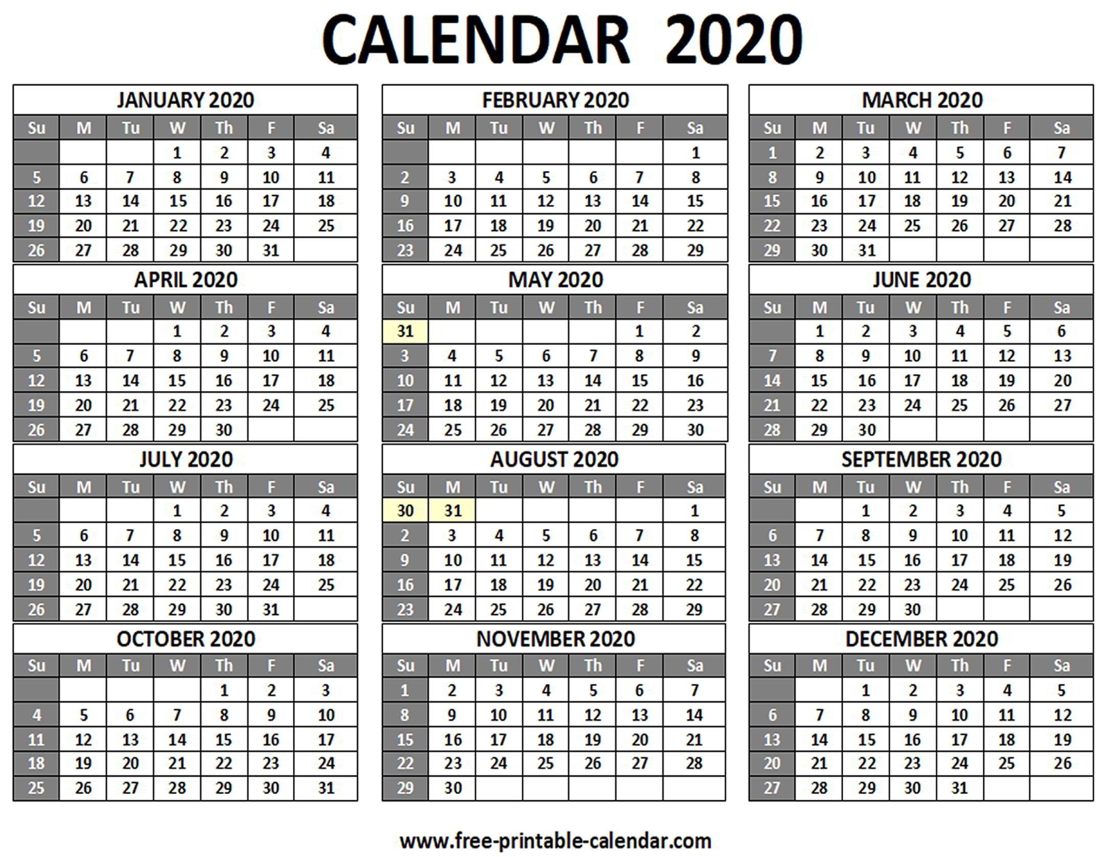 Printable Calendar Landscape 2020