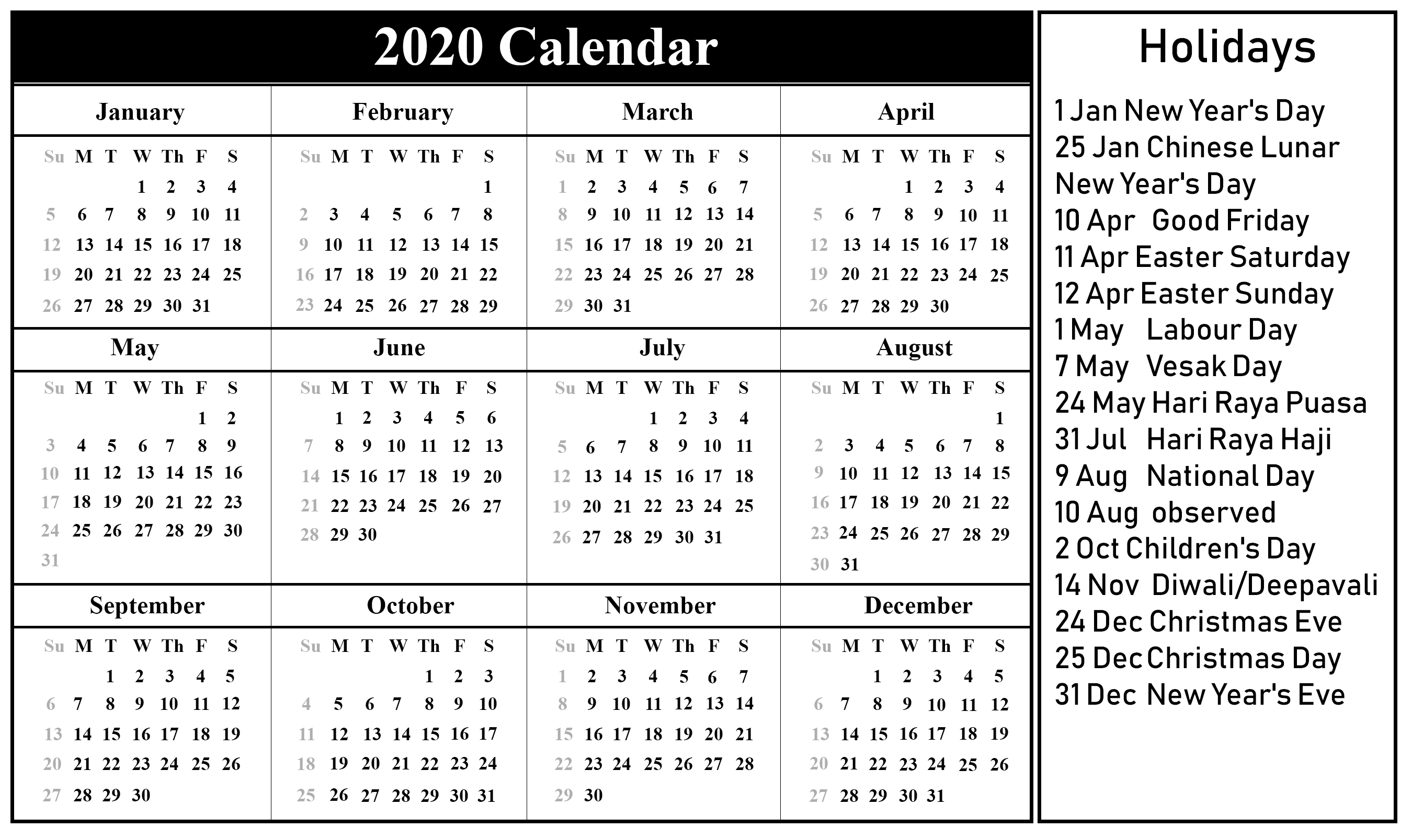 Printable Vacation Calendar 2020