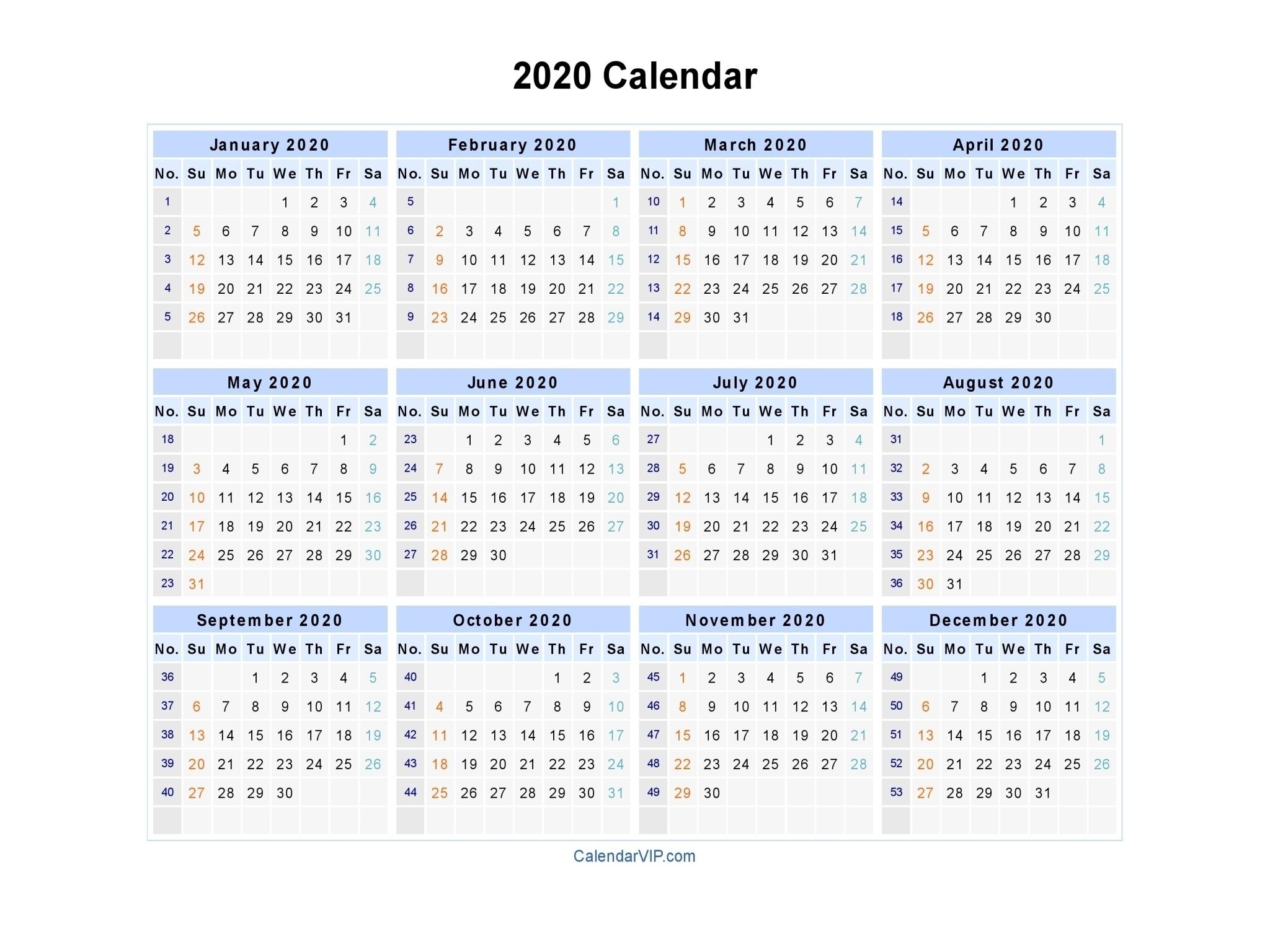 Printable 2020 Calendar With Week Numbers | Monthly Free
