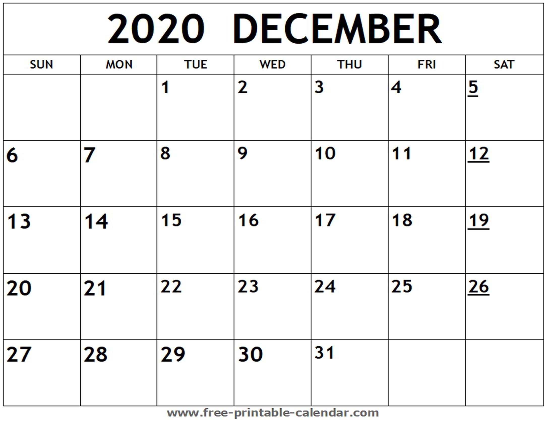 Printable 2020 December Calendar - Free-Printable-Calendar