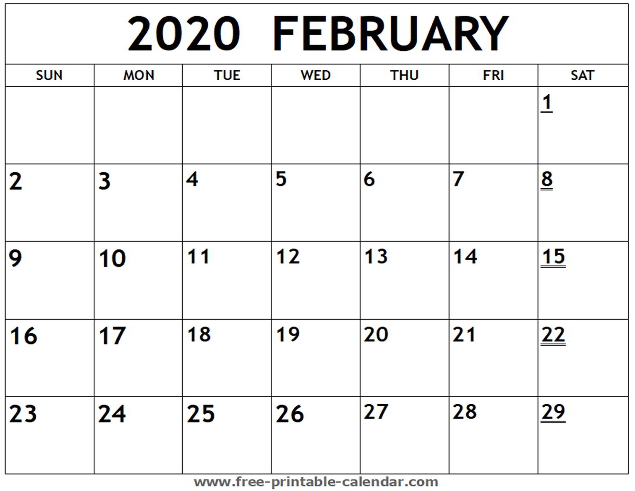 Printable 2020 February Calendar - Free-Printable-Calendar