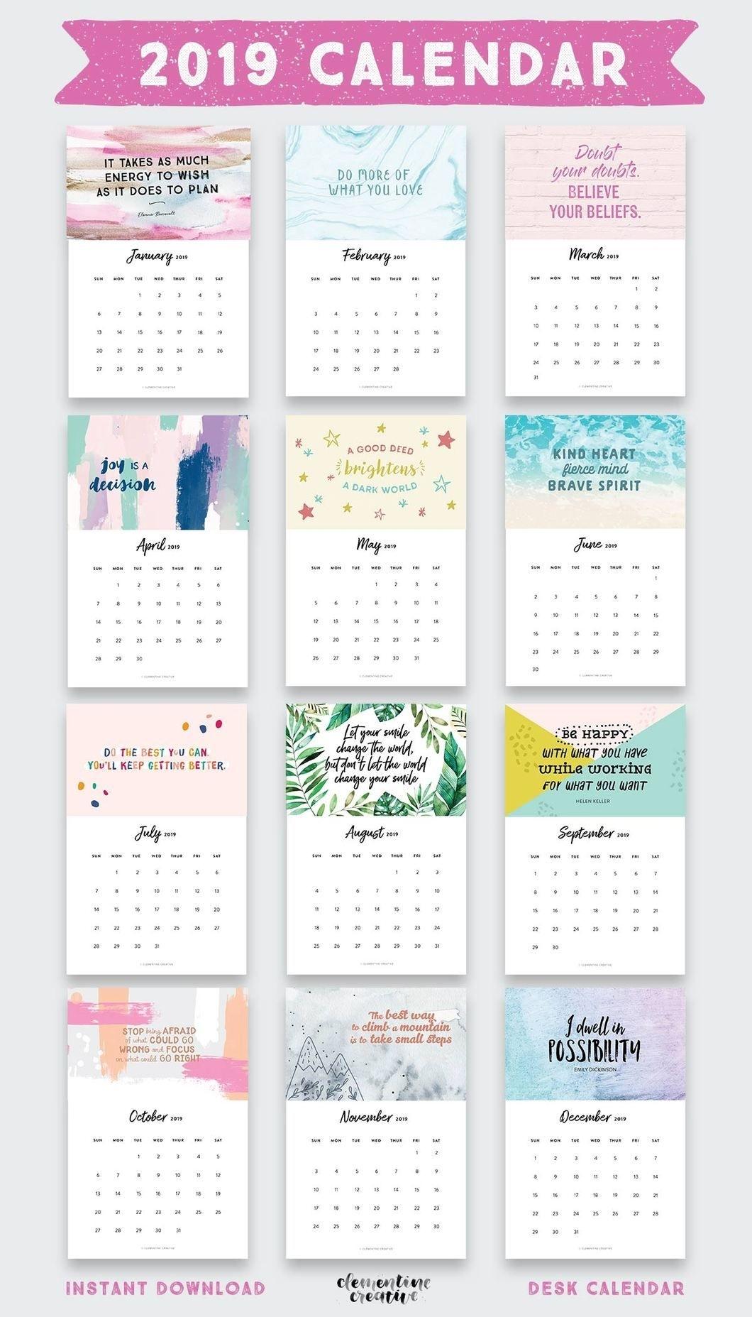 Printable 2020 Inspirational Quotes Calendar | Doodles