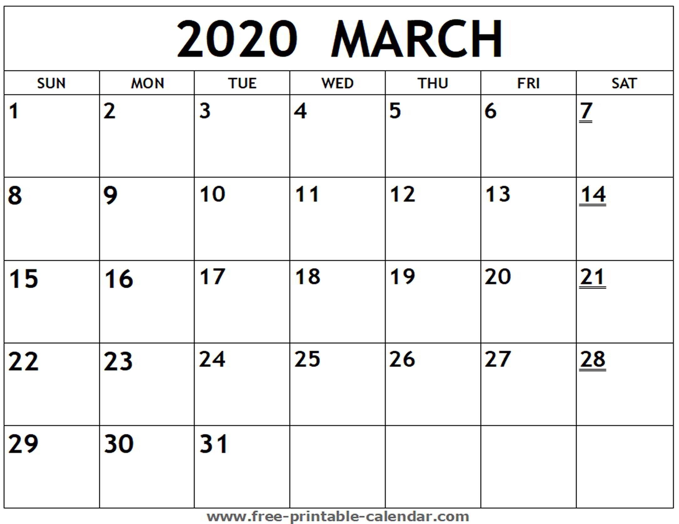 Printable 2020 March Calendar - Free-Printable-Calendar