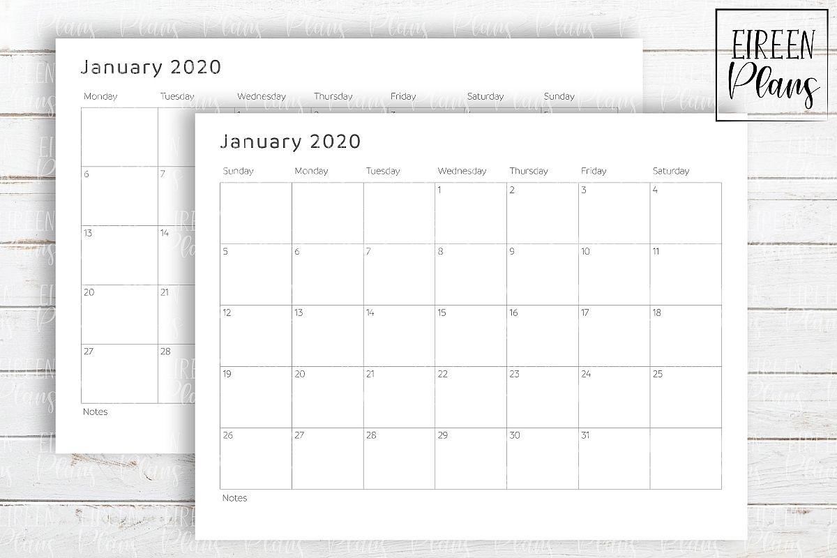 Printable 2020 Write-On Minimalist Calendar