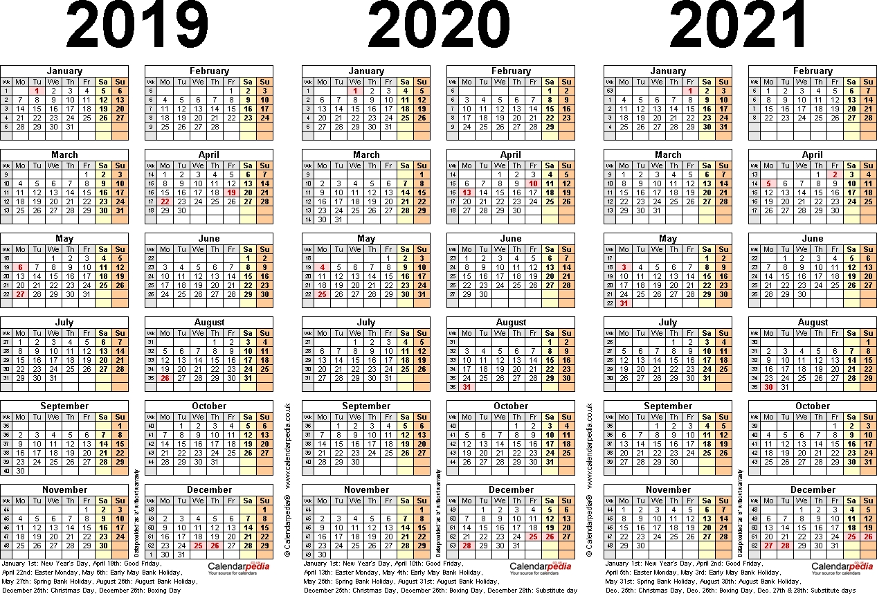 Printable 3 Year Calendar 2019 To 2021 | Printable Calendar 2020