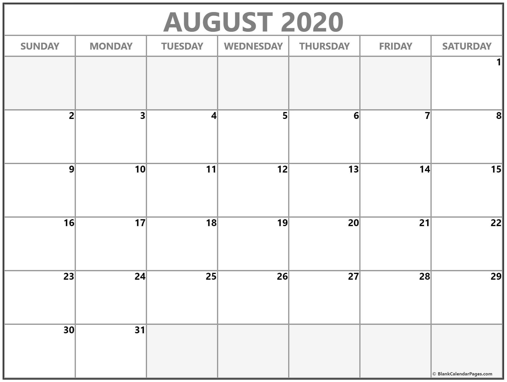 Printable 30 Day Calendar August 2020 | Gallery Of Calendar