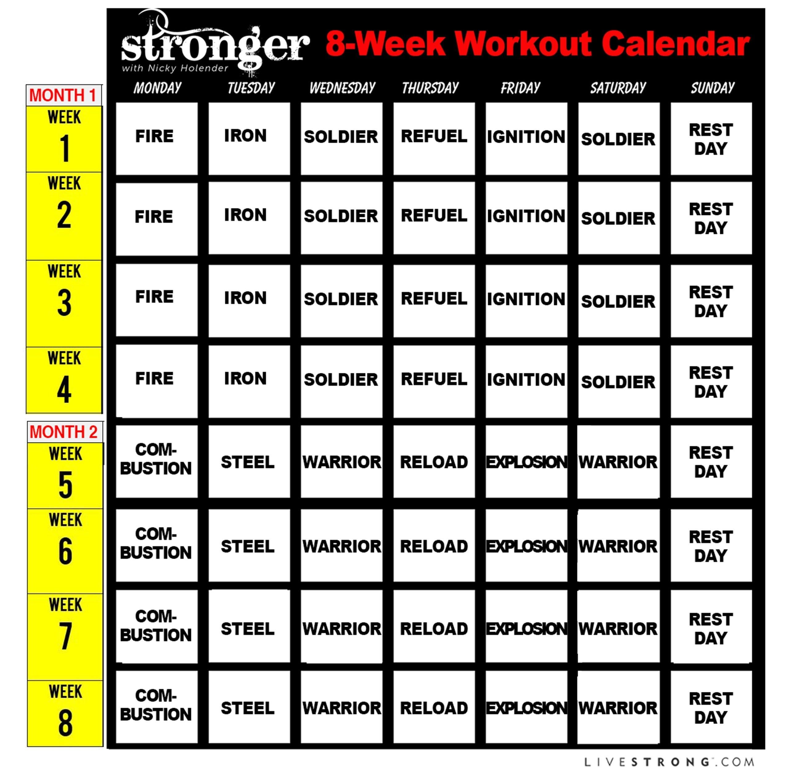 Printable 8-Week Workout Calendar And 10 Free Workout Videos